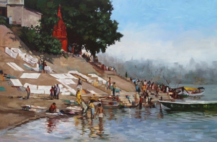 Landscape Oil Art Painting title Daily Life Banaras by artist Sachin Sawant