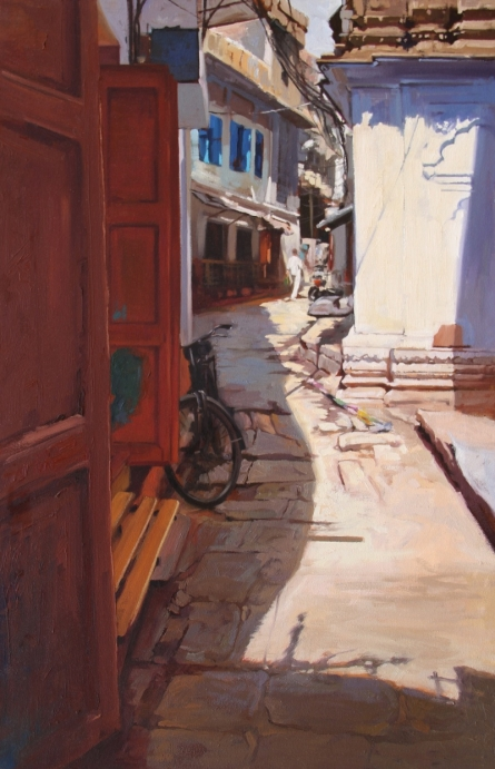 Landscape Oil Art Painting title Holy Lane 2 Banaras by artist Sachin Sawant