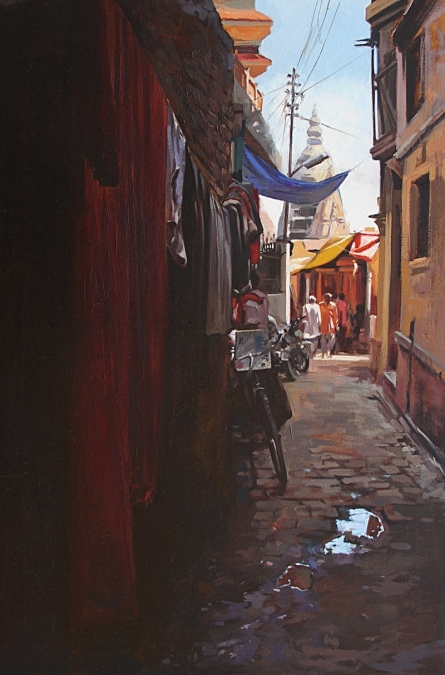Landscape Oil Art Painting title Holy Lane Banaras by artist Sachin Sawant