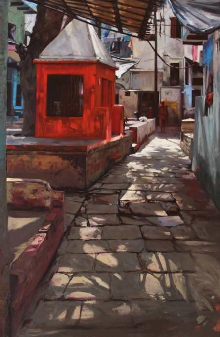 Landscape Oil Art Painting title 'Small Temple Banaras' by artist Sachin Sawant