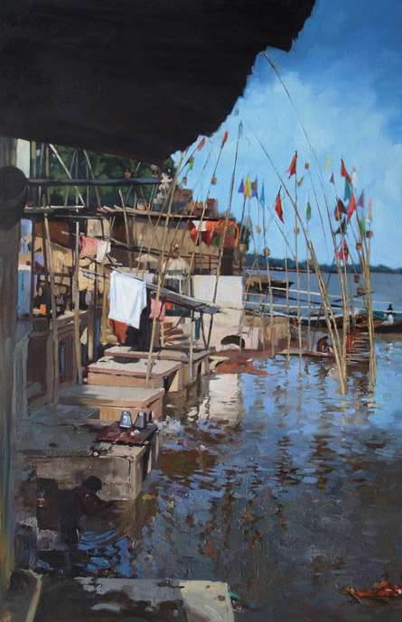 Landscape Oil Art Painting title 'Temple At Banaras Ghat' by artist Sachin Sawant