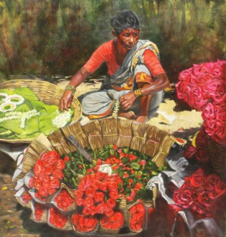 Realistic Oil Art Painting title 'A Hostess' by artist Vivek Vadkar