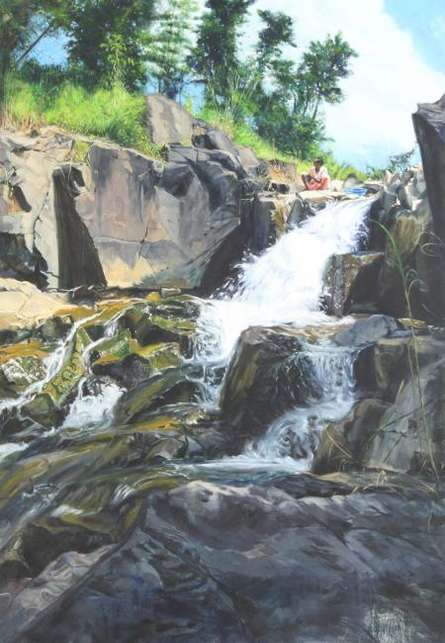 Landscape Oil Art Painting title Propitious by artist Vivek Vadkar