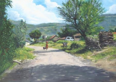 A Gleeful Village | Painting by artist Vivek Vadkar | oil | Canvas