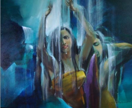Bath | Painting by artist Joychandra Sharma | acrylic | Canvas