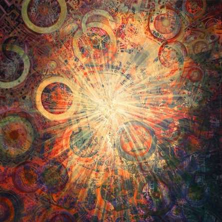 Mario Castillo | Cracks In The Cosmic Egg 24x24 Mixed media by artist Mario Castillo on digital art | ArtZolo.com