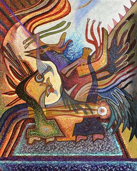 Mixed Media Painting titled 'In The Spirit Of Birds 30x24' by artist Mario Castillo on digital art