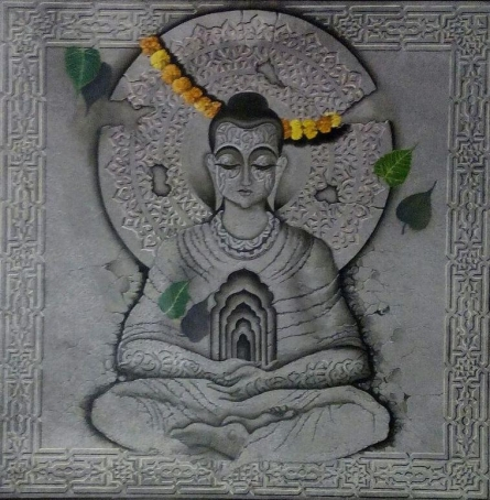 Religious Mixed-media Art Painting title 'Buddha In Deep Meditation' by artist Mohd. Shakeel Saifi