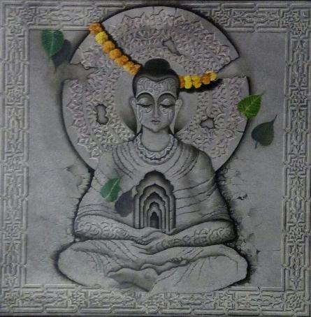 Buddha In Deep Meditation | Painting by artist Mohd. Shakeel Saifi | mixed-media | Canvas