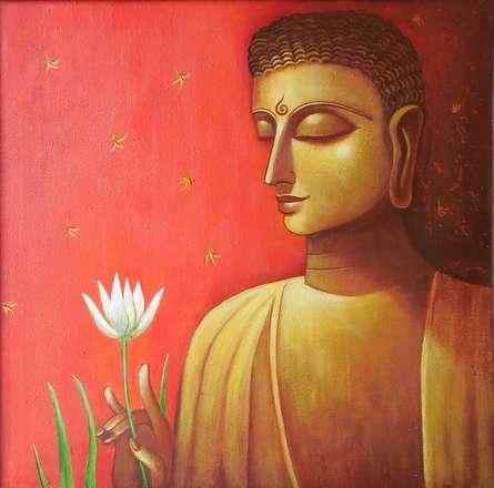 Religious Acrylic Art Painting title 'Buddha In Meditation' by artist Kaladikam Arts