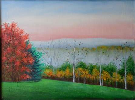 Landscape Oil Art Painting title Colors Of Fall by artist Kaladikam Arts