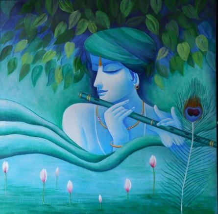 Divine Flute | Painting by artist Kaladikam Arts | acrylic | Canvas