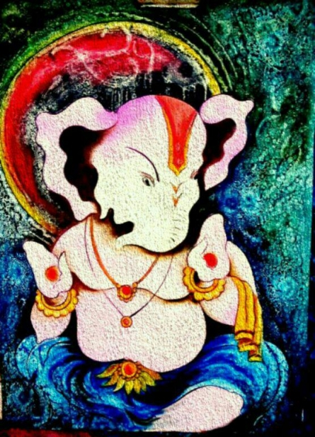 Mohd. Shakeel Saifi | Oil Painting title Lord Ganesha with a unique look on Paper | Artist Mohd. Shakeel Saifi Gallery | ArtZolo.com