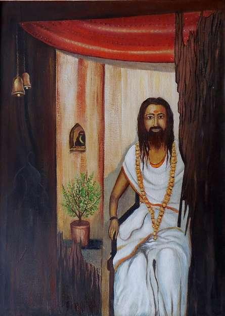 Figurative Oil Art Painting title Old Priest by artist Kaladikam Arts