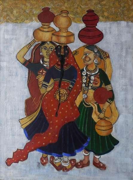 Figurative Oil Art Painting title Panghat Gossip by artist Kaladikam Arts
