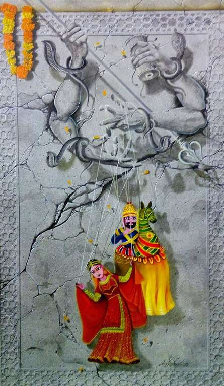 Motivational Mixed-media Art Painting title The Operator Of Life god by artist Mohd. Shakeel Saifi