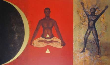 Figurative Acrylic Art Painting title 'YOGA' by artist Satish Kale
