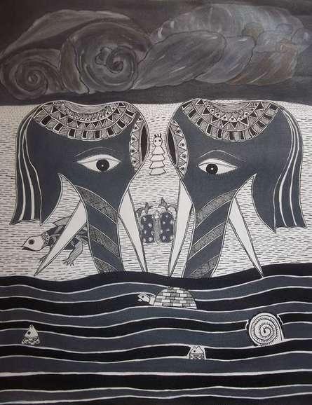 Elephant Couple | Painting by artist Preeti Das | Acrylic | Canvas