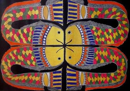 Preeti Das | Acrylic Painting title Fish on Canvas | Artist Preeti Das Gallery | ArtZolo.com