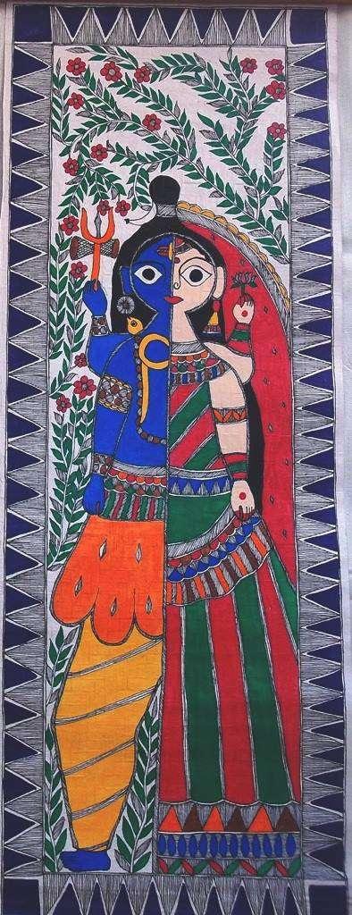 Religious Acrylic Art Painting title Ardhangini by artist Preeti Das
