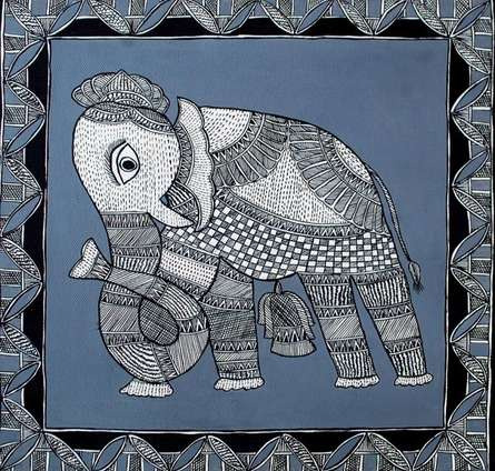 Preeti Das | Acrylic Painting title Elephant on Canvas | Artist Preeti Das Gallery | ArtZolo.com