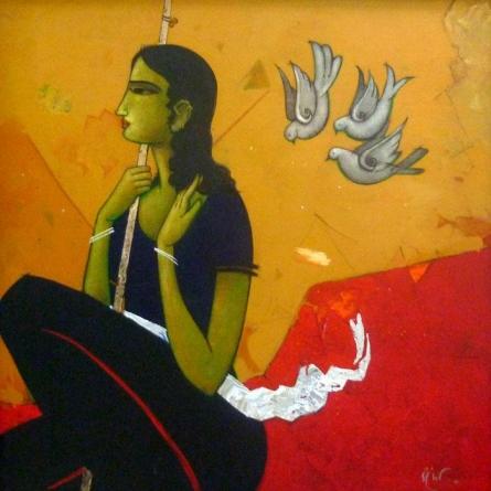 Figurative Acrylic Art Painting title An Indian Girl by artist Sanjay Tikkal