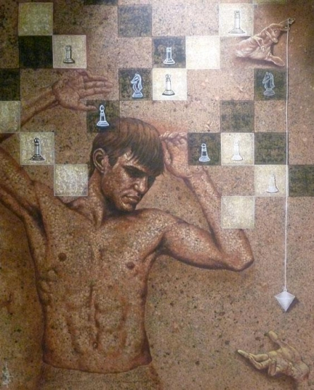 Figurative Acrylic Art Painting title Chess Man by artist Manoj Sen