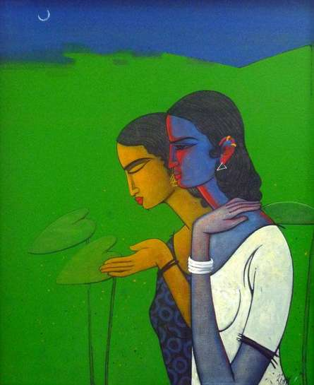 Figurative Acrylic Art Painting title 'Chit Chat' by artist Sanjay Tikkal