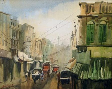 Cityscape Acrylic Art Painting title 'City View' by artist Ekta Singha