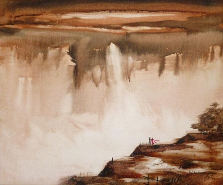 Cityscape Acrylic Art Painting title 'Couple At The Waterfall I' by artist Javed Ichalkaranjik