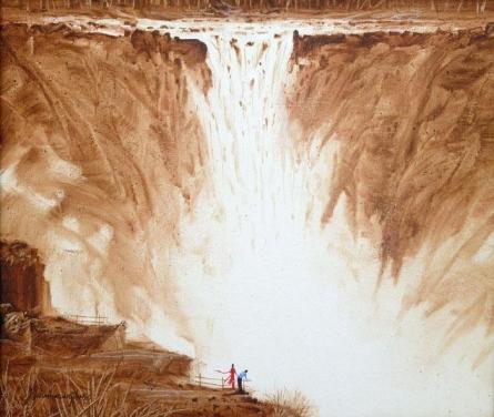Cityscape Acrylic Art Painting title 'Couple At The Waterfall II' by artist Javed Ichalkaranjik
