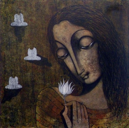 Manoj Aher | Acrylic Painting title Devotee Of Buddha on Canvas | Artist Manoj Aher Gallery | ArtZolo.com