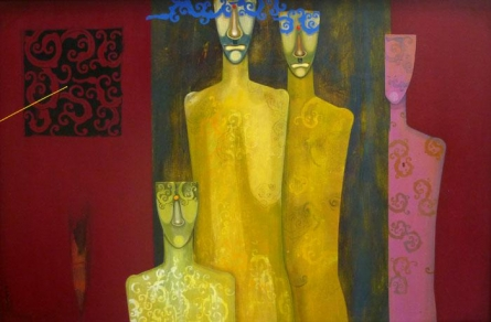 Figurative Acrylic Art Painting title 'Family' by artist Samar Singh