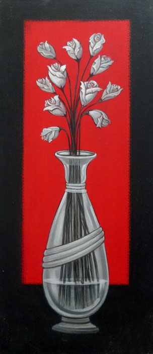 Still-life Acrylic Art Painting title 'Flower Vase' by artist DM Ajankar