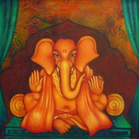 Ganesha Giving Blessing | Painting by artist Manoj Aher | acrylic | Canvas