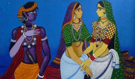 Figurative Acrylic Art Painting title Girls In Conversation by artist Gajraj Chavan