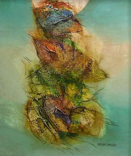 Abstract Acrylic Art Painting title 'Green Abstract' by artist Deepak Khogre