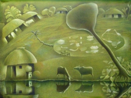 House By The River | Painting by artist Subash Pal | acrylic | Canvas