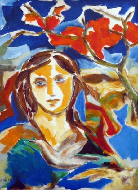 Figurative Acrylic Art Painting title 'Hued Girl' by artist Swami