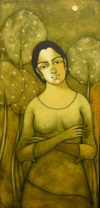 Figurative Acrylic Art Painting title 'Indian Girl' by artist Manoj Aher