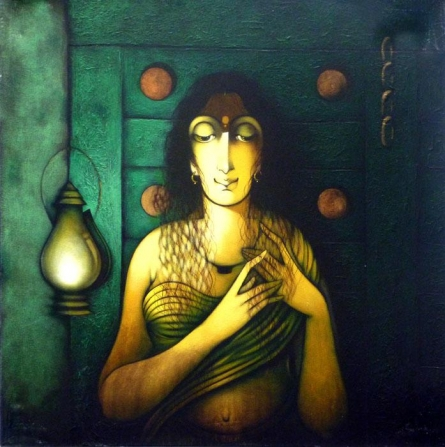 Figurative Acrylic Art Painting title 'Indian Woman II' by artist Manoj Aher