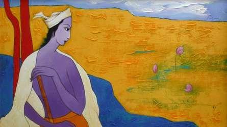 Giram Eknath | Acrylic Painting title Krishna on Canvas | Artist Giram Eknath Gallery | ArtZolo.com