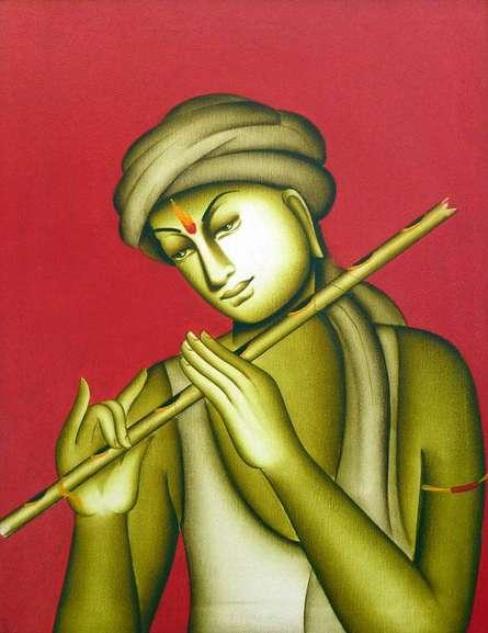 Monica | Acrylic Painting title Krishna on Canvas | Artist Monica Gallery | ArtZolo.com