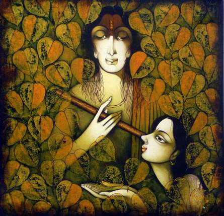 Manoj Aher | Acrylic Painting title Krishna Radha on Canvas | Artist Manoj Aher Gallery | ArtZolo.com