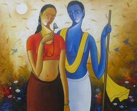 Figurative Acrylic Art Painting title Krishna Radha IV by artist Shivkumar