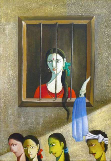 Figurative Acrylic Art Painting title 'Looking Outside The Window' by artist Shivkumar