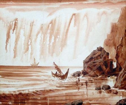Cityscape Acrylic Art Painting title 'Mooring A Boat I' by artist Javed Ichalkaranjik