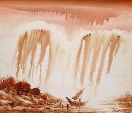 Cityscape Acrylic Art Painting title Mooring A Boat III by artist Javed Ichalkaranjik