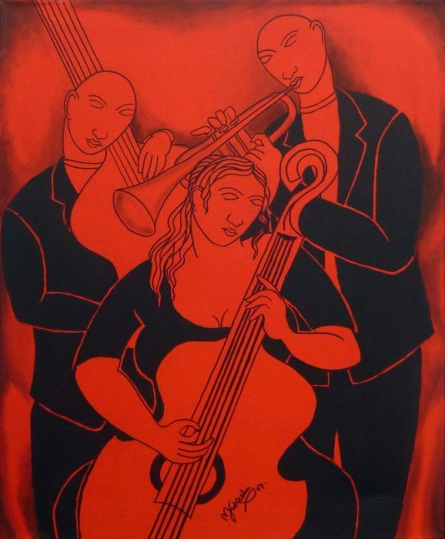 Figurative Acrylic Art Painting title 'Music Company' by artist Mukesh