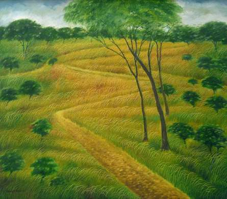 Nature Acrylic Art Painting title 'Nature Walk' by artist Sadre Alam